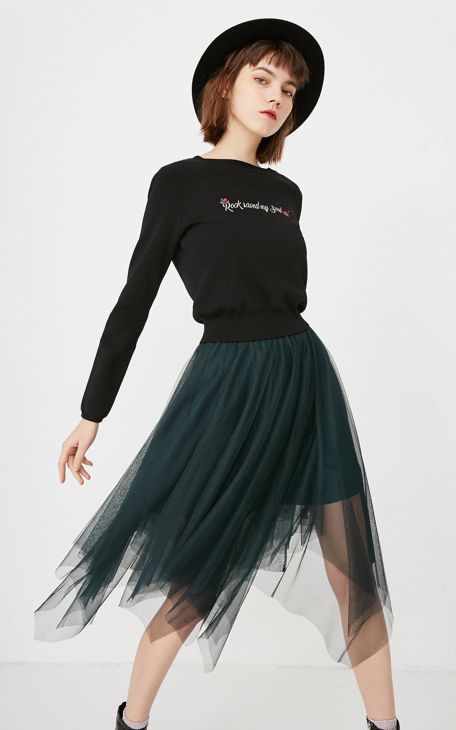 针织网纱拼接两件套连衣裙