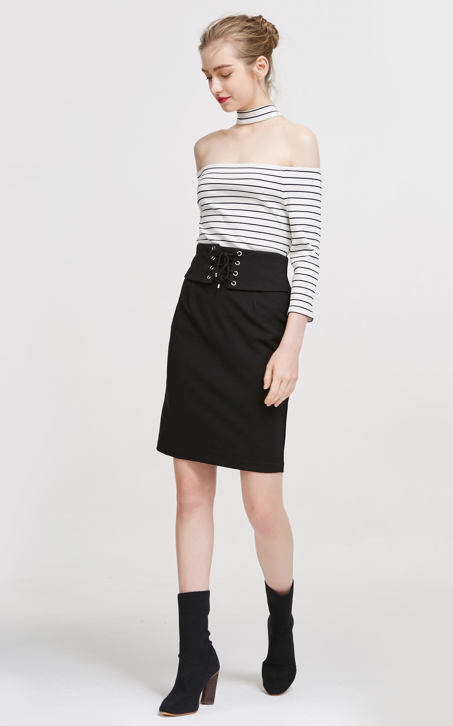 时尚腰封设计舒适百搭半身裙
