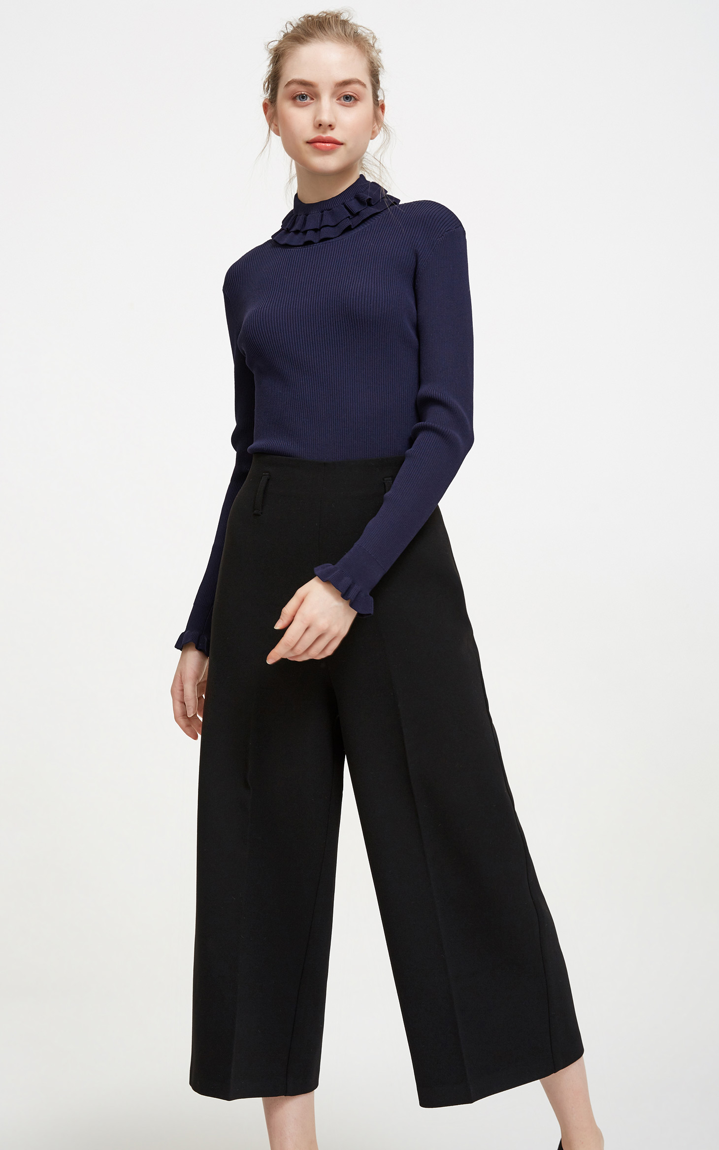 腰带装饰阔腿裤