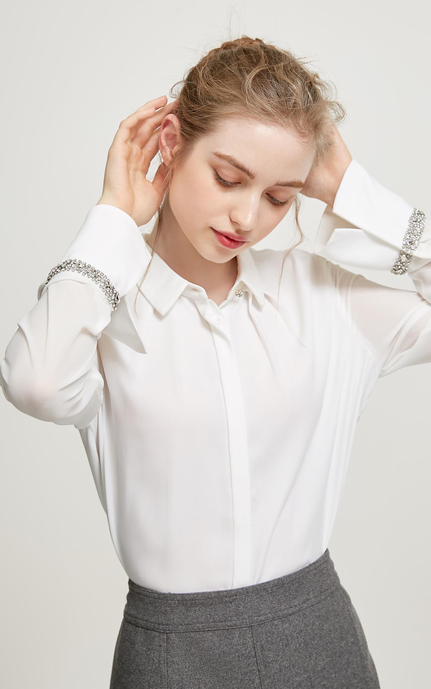 喇叭袖水钻装饰直筒女衬衫